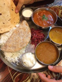 Served with fragrant basmati rice, daal, sabji, raita, roti, kachumber, papadum & dessert.
