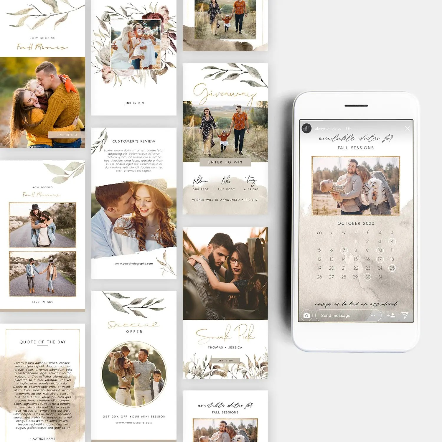 fall instagram story templates