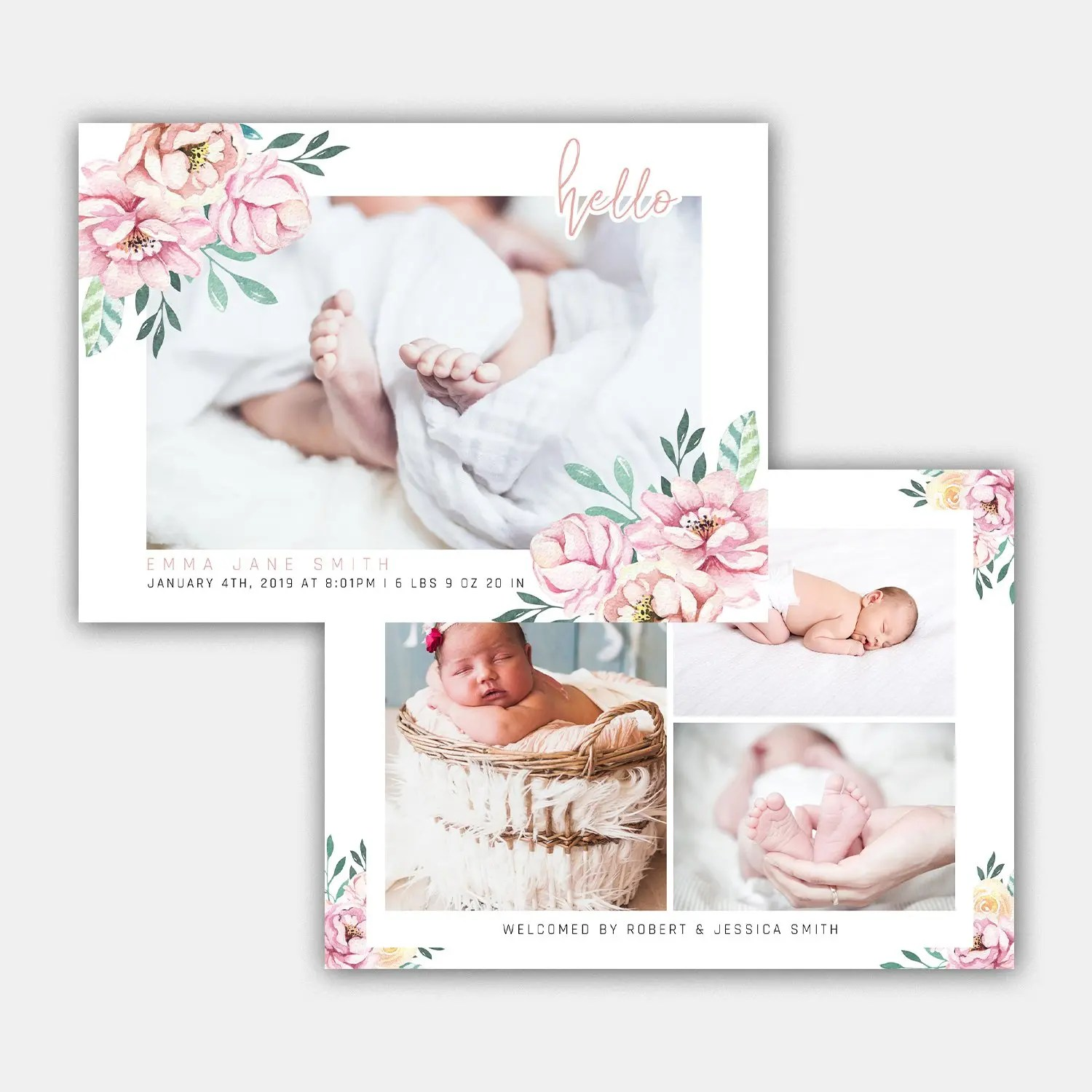 sweet baby birth announcement template