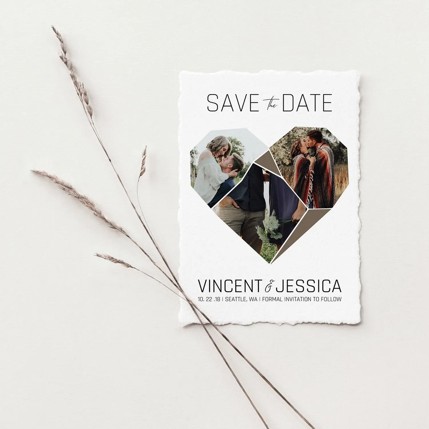 heart save the date template