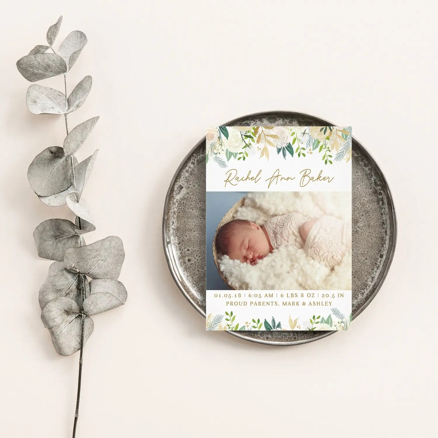floral birth announcement template