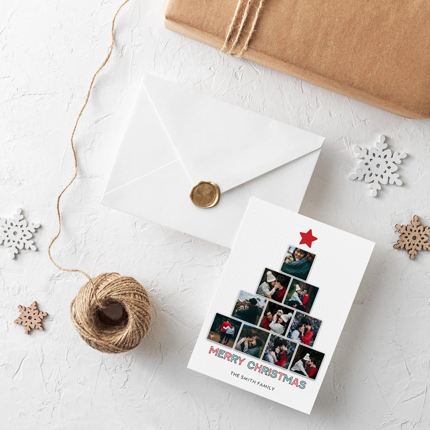 Tree Squares Christmas Card Template
