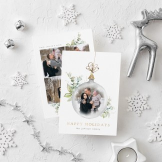Winter Ornament Christmas Card Template