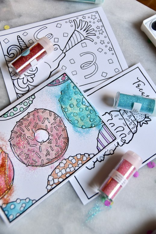 Brighter Sides Design donuts coloring card with water colors add glitter