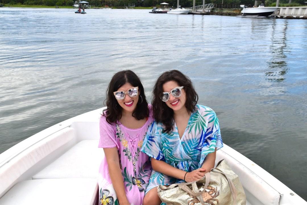 Dania & Aya on a boat
