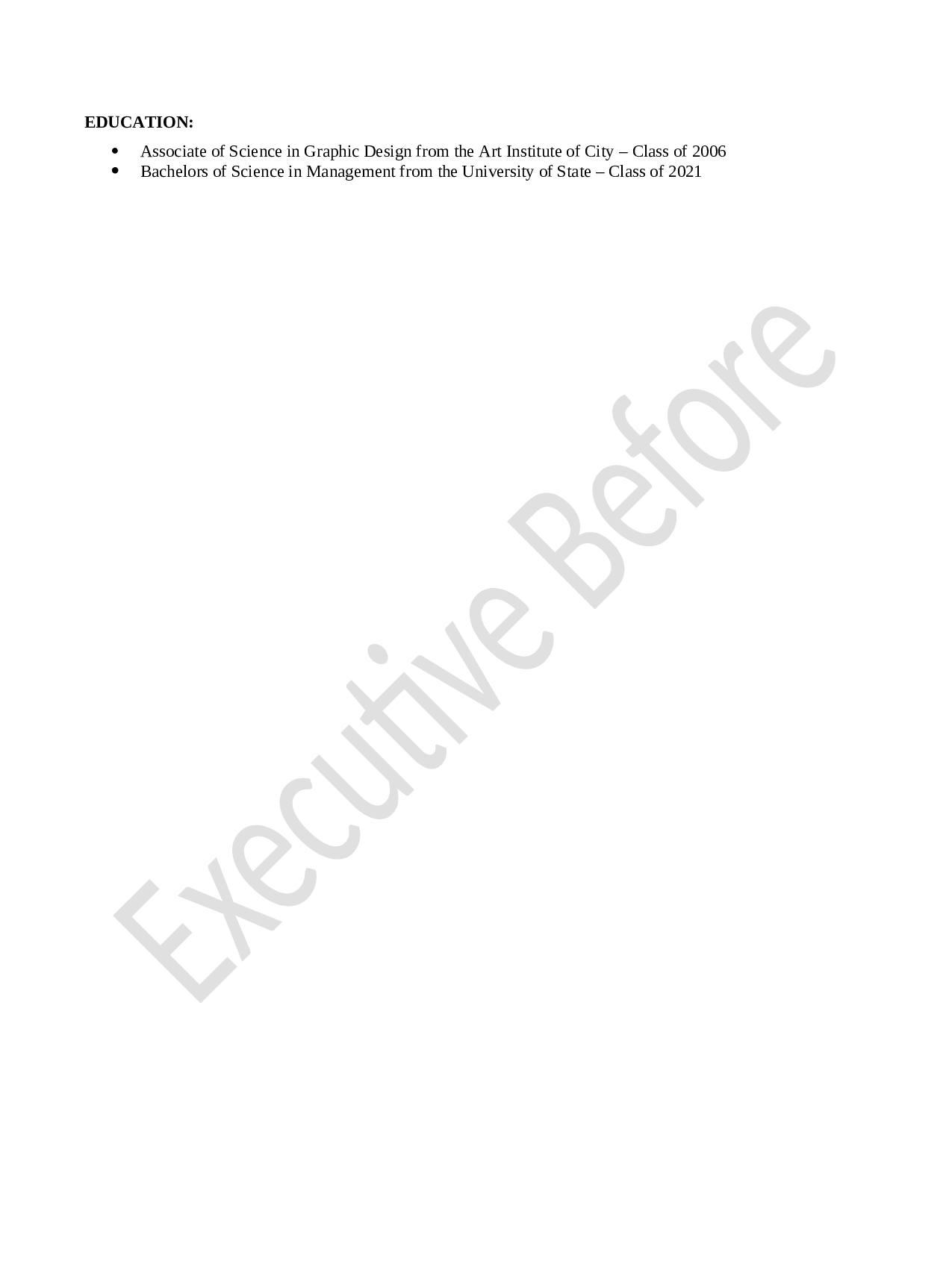 Executive Resume Before Page 2
