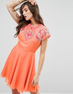 ASOS - 3D Flower Embellished Skater Dress