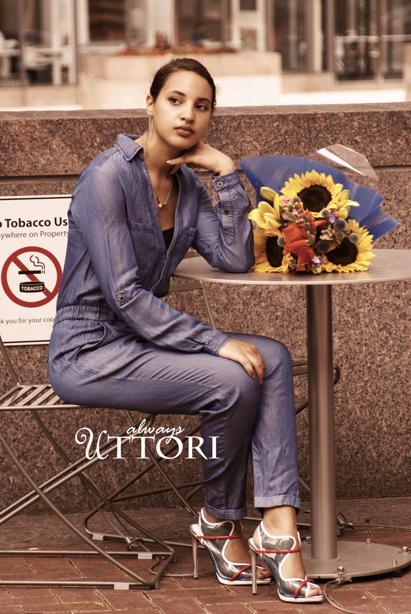 Exploring downtown in a blue jean jumpsuit. Introvert on the go fashion. Blog: Always Uttori