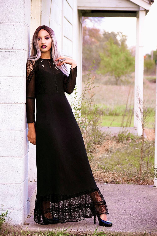 Pastel Goth Morticia Adams Halloween Costume. Photo Credit: Mechelle Avey. Always Uttori