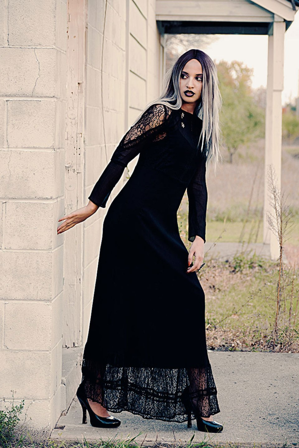 Pastel Goth Morticia Adams Halloween Costume. Photo Credit: Mechelle Avey. Always Uttori