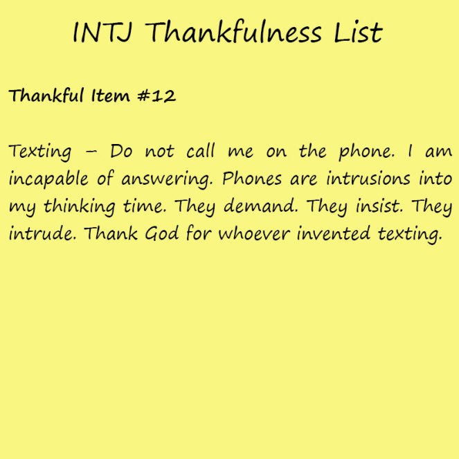 Introvert Life: The Thankful INTJ. Thankful -12