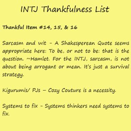 Introvert Life: The Thankful INTJ. Thankful -16