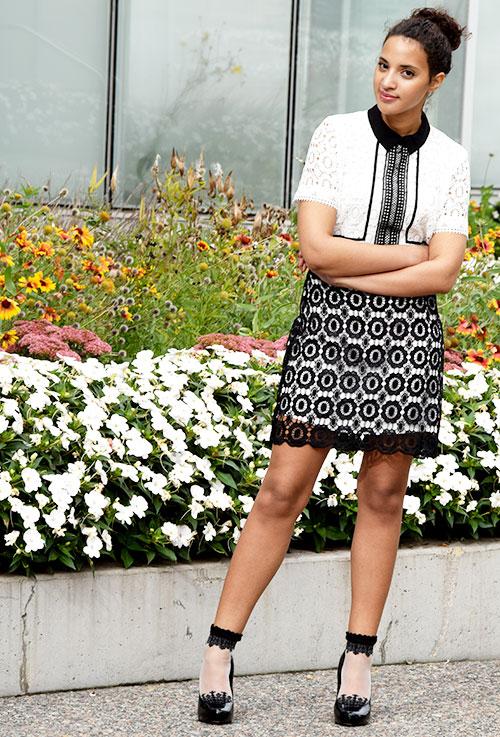 Joy Envyland Short Sleeve, Black and white lace dress. Photo Credit: Mechelle Avey. Introvert Love: Sweet Love, Valentine's Day Look 2. Alwaysuttori.com.