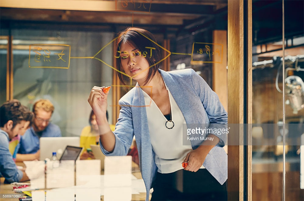 Female Professional Writing on glass wall. Photo Credit: Kelvin Murray - 586970697. gettyimages.com Why Being an INTJ Female is Great. Alwaysuttori.com