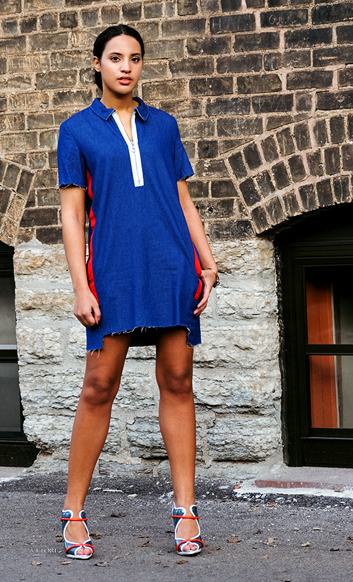 Always Uttori Denim Fashion, Look 3, Photo 1. Photo Credit: Mechelle Avey. Always Uttori Denim Fashion. Alwaysuttori.com