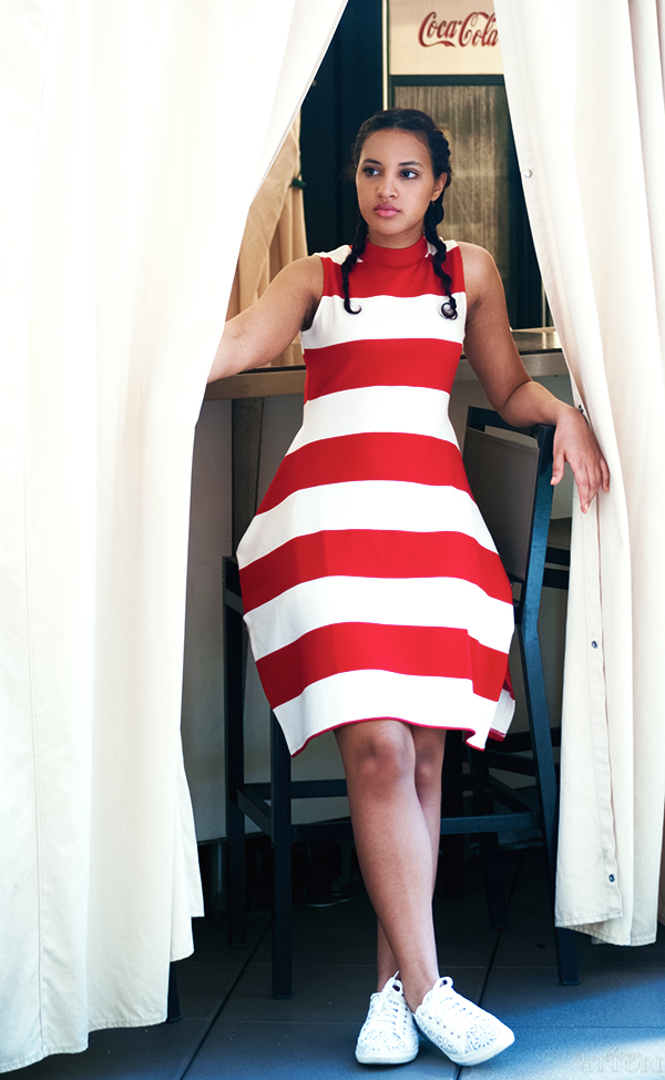 Gracia Striped Dress, Look 1, P2. Photo Credit: Mechelle Avey. Red White and Fresh Look 1. Alwaysuttori.com