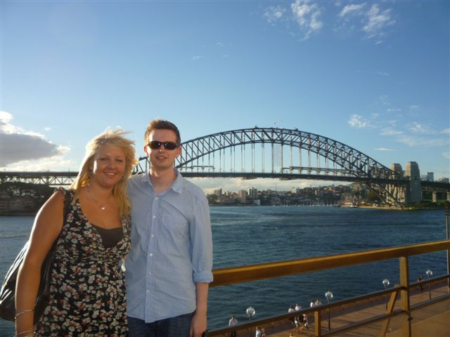 Sarah and Alex in front of the Sydney Harbour Bridge