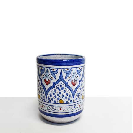 Blue ceramic pencil cup
