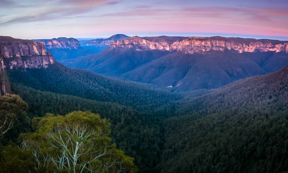 view of blue mountains from blackheath lookout new south wales
