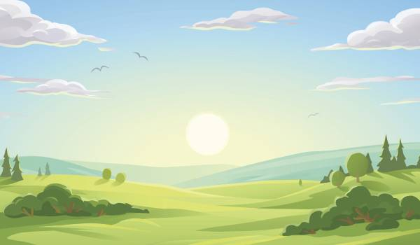 graphic of a green field with trees a sun and blue sky