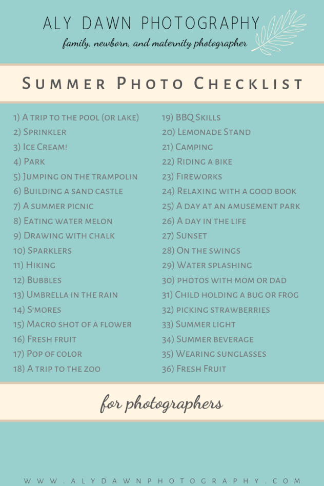 Summer Photo Checklist | Aly Dawn Photography