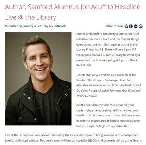 Jon Acuff article for Samford University News