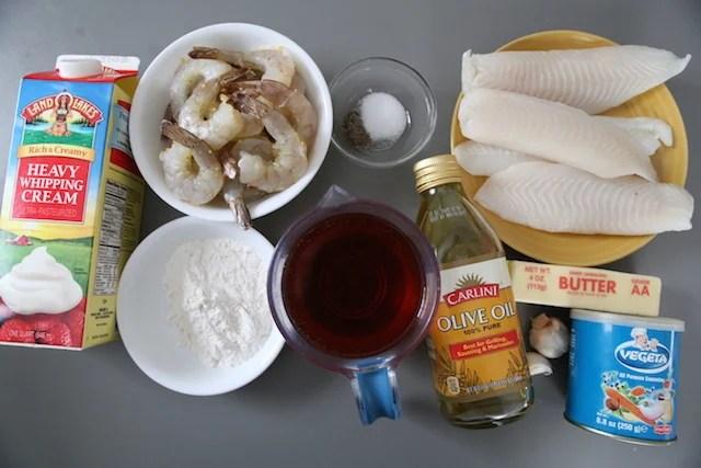 Ingredients for tilapia wine sauce