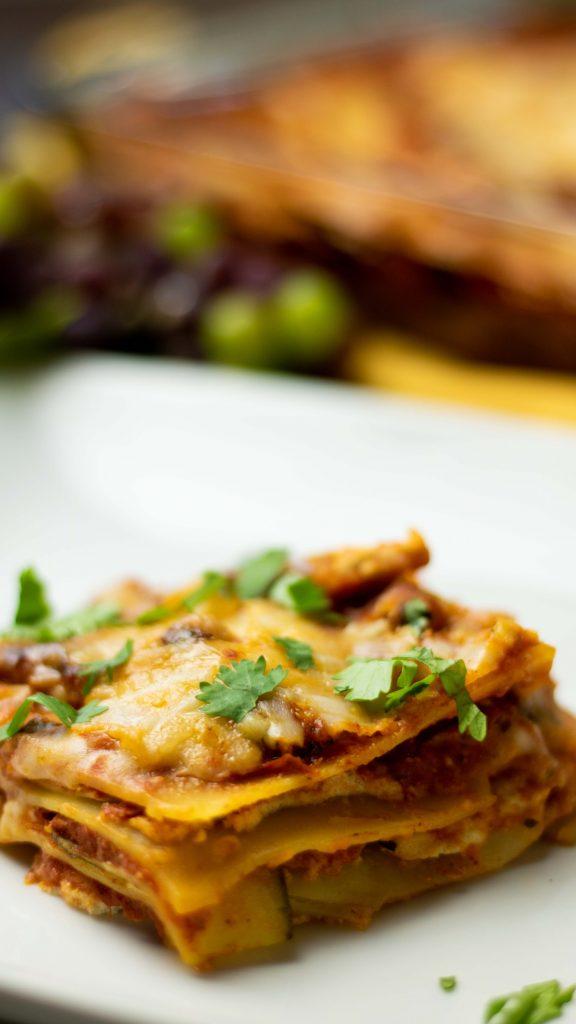gluten-free vegan lasagna with zucchini, marinara sauce, and homemade ricotta cheese