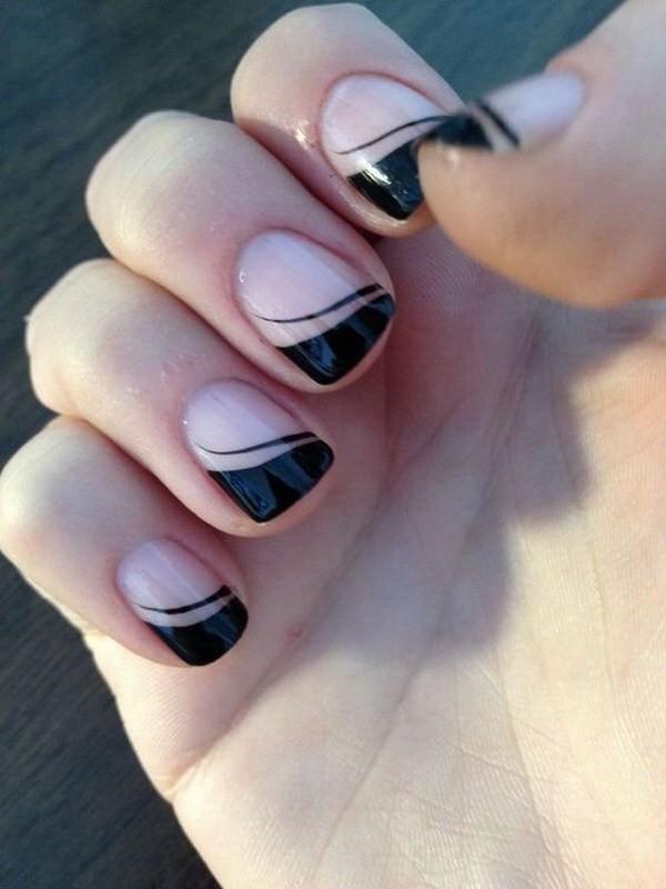Black-French-Tips-Nail-Design Elegant Black Nail Art Designs