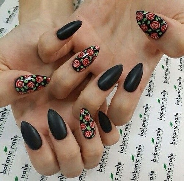 Matte-Black-Floral-Nails-In-Almond-Shape Beautiful Almond Nail Designs
