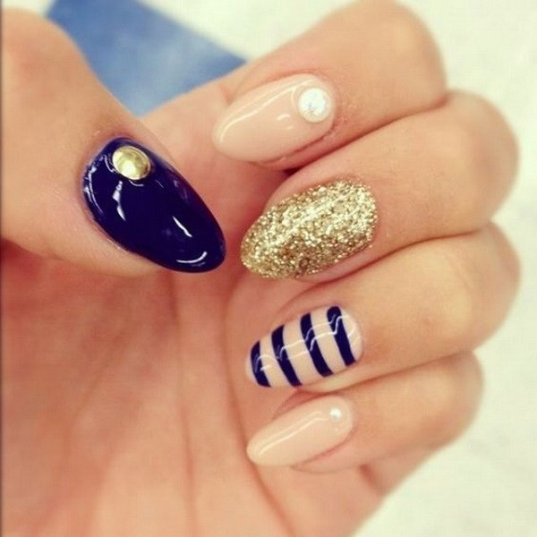 Navy-And-Nude-Almond-Nail-Design-With-Glitter-And-Strips-Details Beautiful Almond Nail Designs