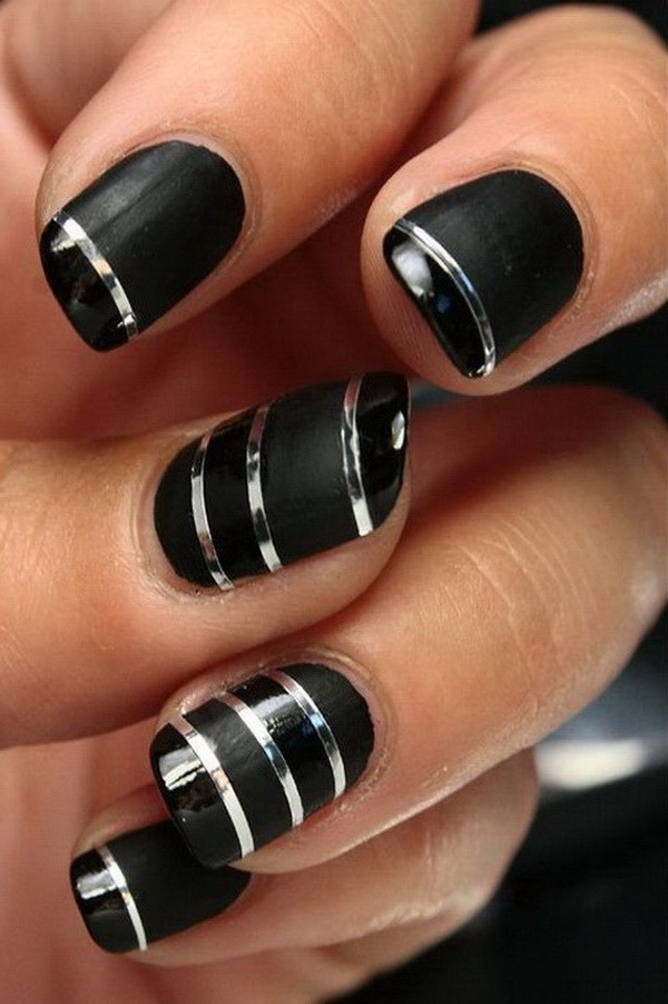 Silver-Striping-Tapes-On-Black-Nails Elegant Black Nail Art Designs