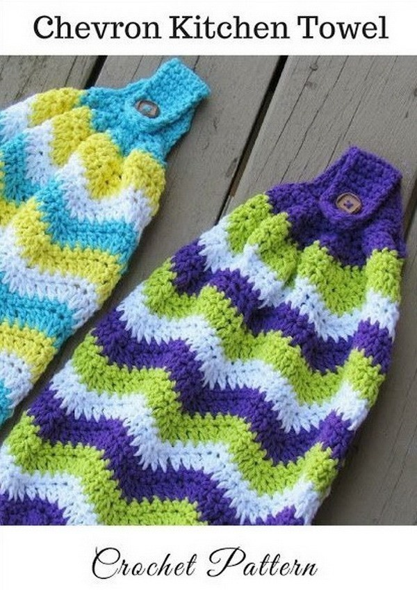 Chevron-Kitchen-Towel-Free-Crochet-Pattern Easy Crochet Patterns And Projects For Beginners