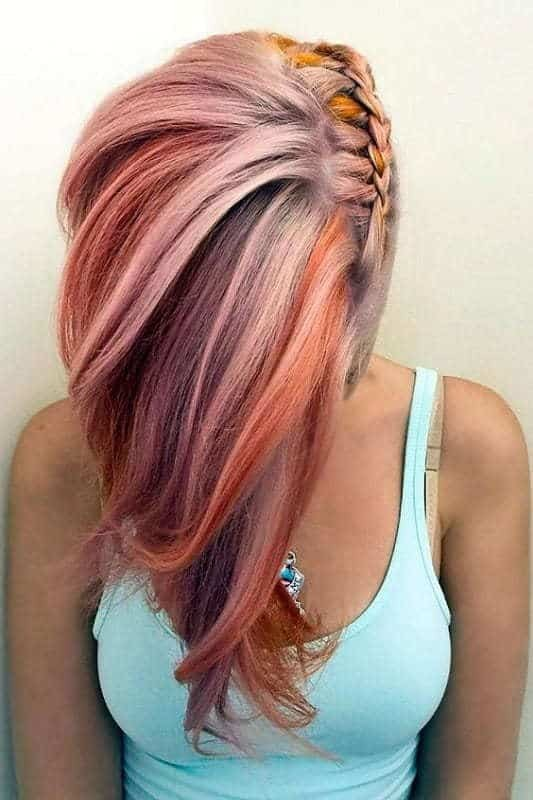 Colored-Lob-with-Side-Braid 12 Breathtaking Long A-line Haircuts for Women 2020
