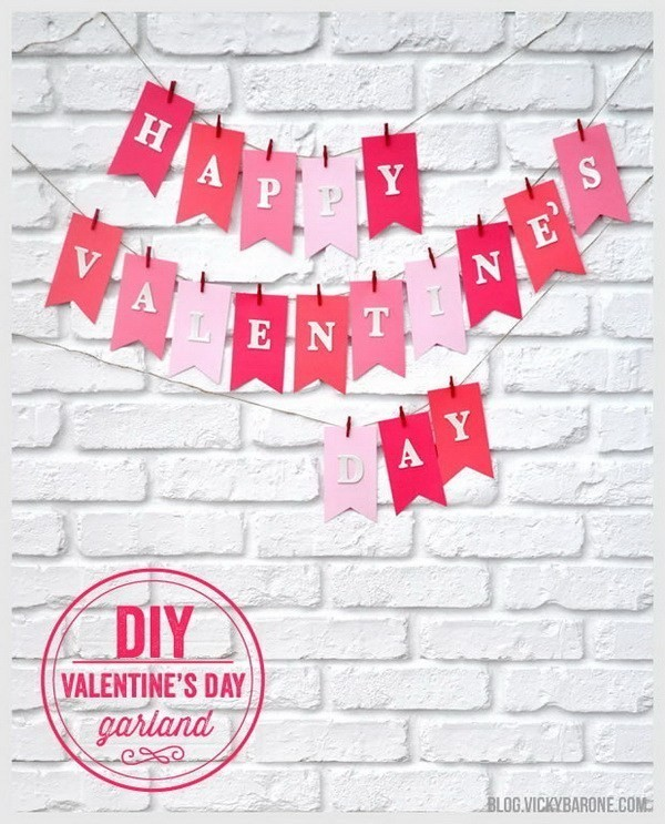 DIY-Valentine's-Day-Garland Sweet DIY Valentine's Day Decoration Ideas