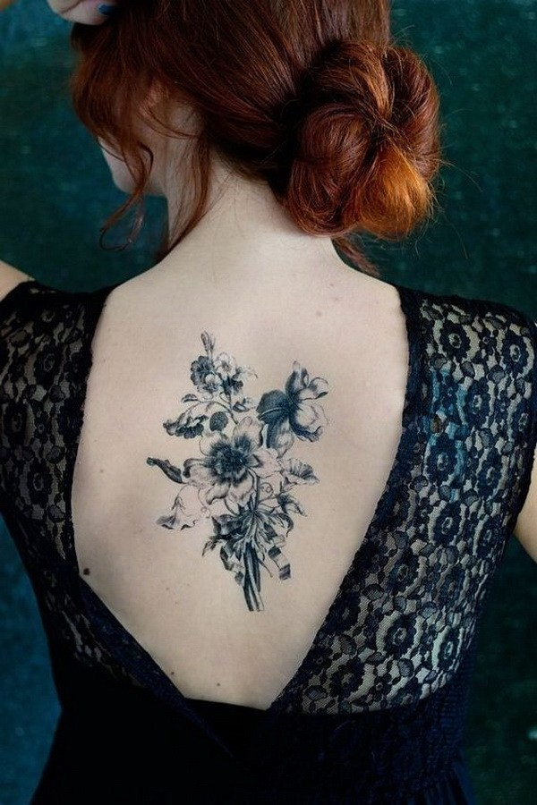 Bouquet-Back-Tattoo-For-Girls 60 Awesome Back Tattoo Ideas