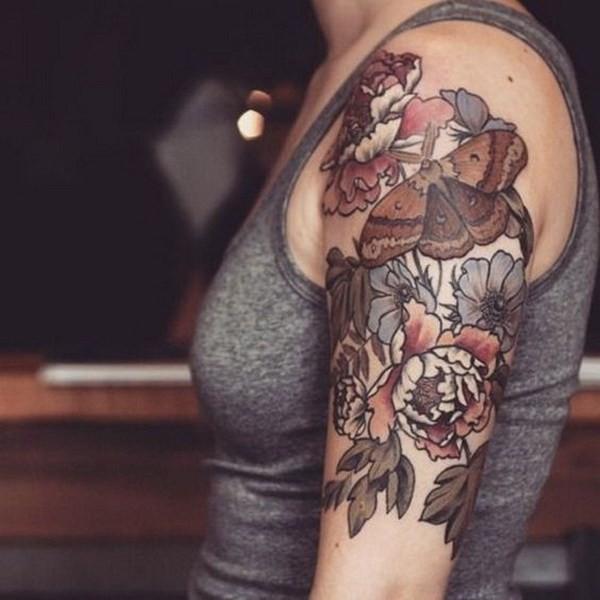 Brown-Ink-Floral-Tattoo Pretty Flower Tattoo Ideas