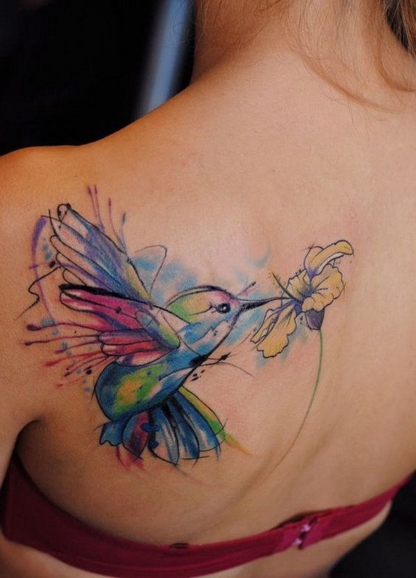 Colorful-Bird-And-Flower-Tattoo-On-Back 60 Awesome Back Tattoo Ideas