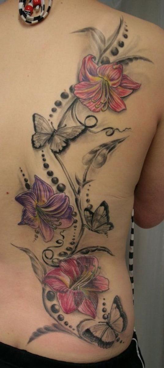 Colorful-Flower-Back-Tattoo 60 Awesome Back Tattoo Ideas