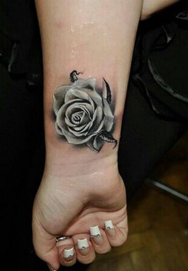 Gray-Rose-Tattoo-On-Wrist Pretty Flower Tattoo Ideas