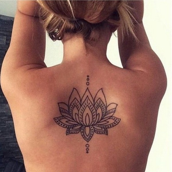 Mehendi-Lotus-On-Back 60 Awesome Back Tattoo Ideas