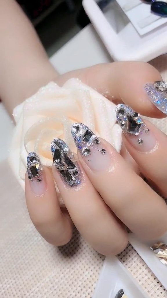 Rhinestone-Nail-Art-Ideas-12 2020 Nail Trends to Inspire Your Next Manicure #1 -  DIY Nails Compilation