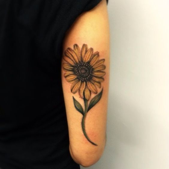 Sunflower-Tattoo-On-Side-Arm Amazing Sunflower Tattoo Ideas