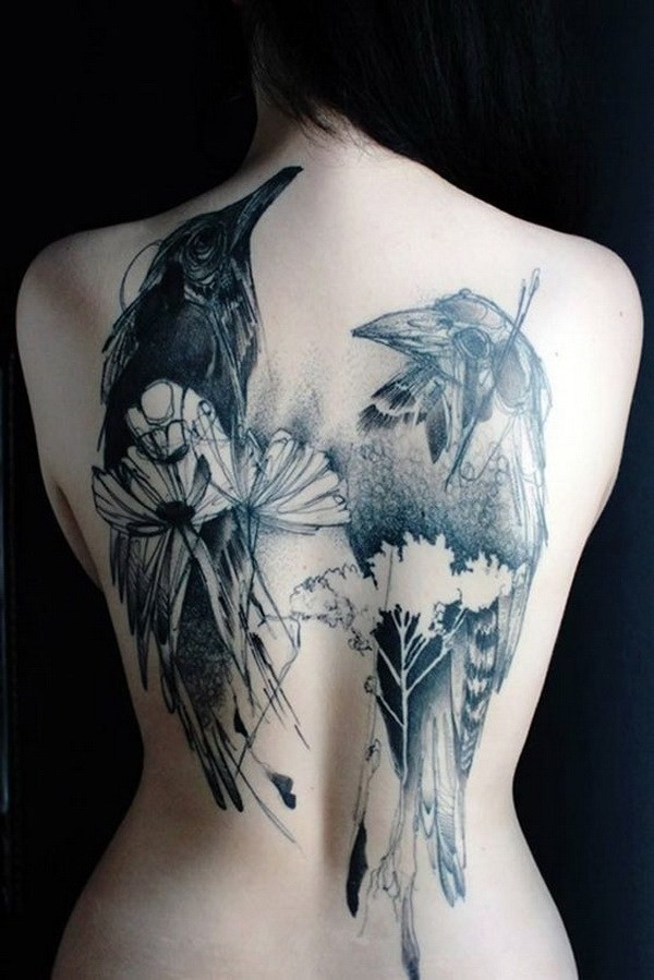 Two-Bird-Tattoo-On-Back- 60 Awesome Back Tattoo Ideas
