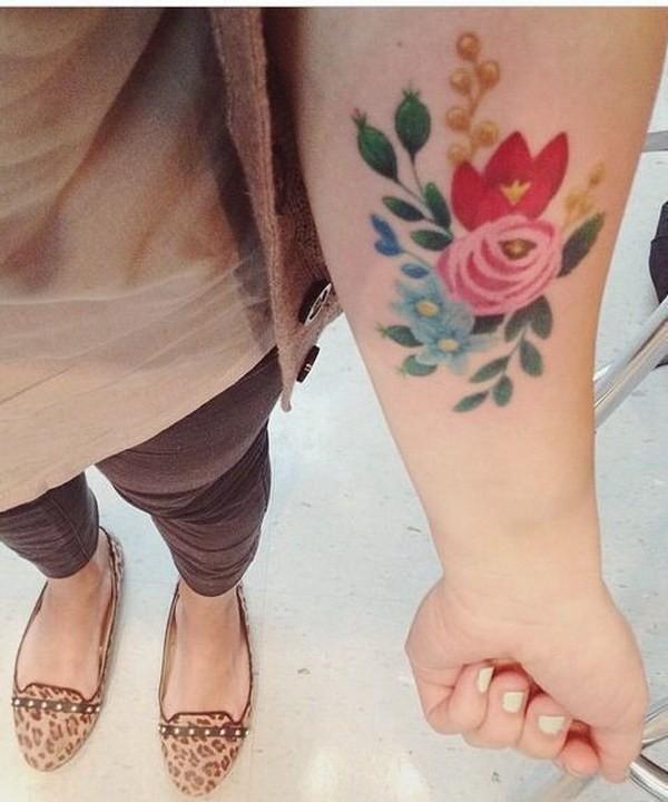 Vintage-Floral-Tattoo Pretty Flower Tattoo Ideas