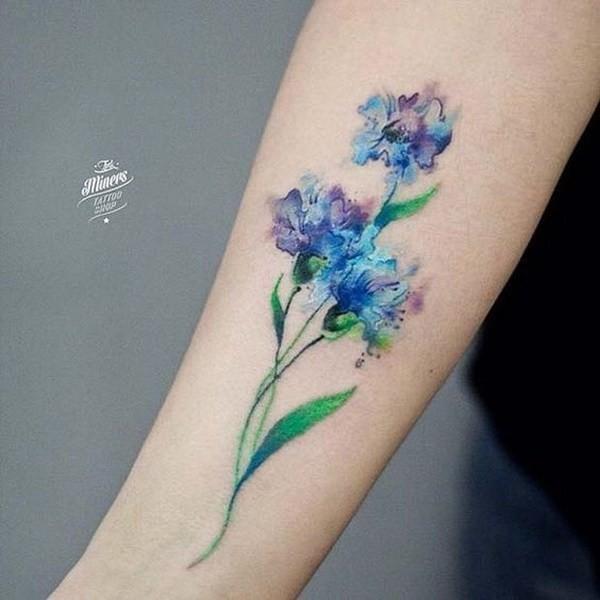 Watercolor-Flower-Tattoo Pretty Flower Tattoo Ideas