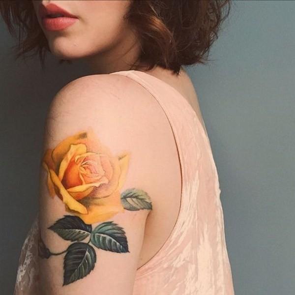 Yellow-Floral-Tattoo-Half-Sleeves Pretty Flower Tattoo Ideas
