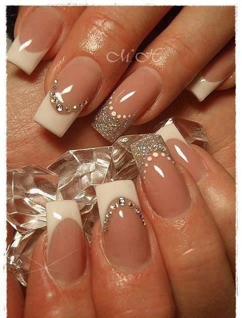 silver-glitter-glitter-nails Wedding Nails French Rhinestones Gems They Are Totally Popular Right Now