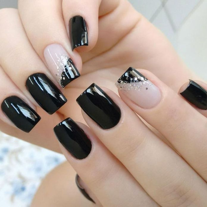 accent-nails-easy-ways-mani-medium-square-black-base-color-french-tips-glitter 2020 Fantastic Nail Design Ideas with Simple Accents