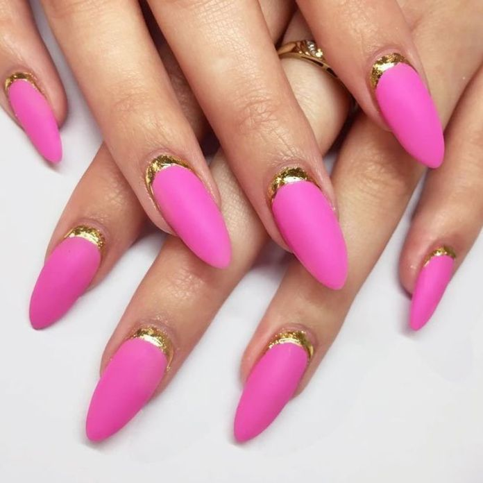 gold-foil-gorgeous-nails-oval-matte-pink-base-ruffian 2020 Fantastic Nail Design Ideas with Simple Accents